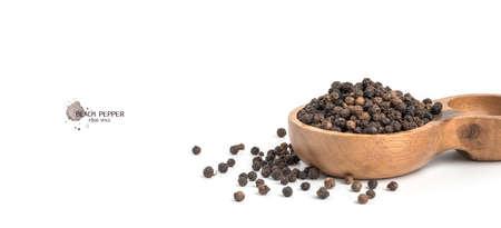 Ground black pepper and ground black pepper on white background