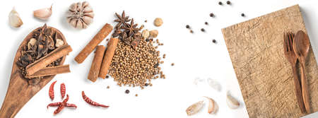 Black pepper seeds on white background. Food ingredients, spices