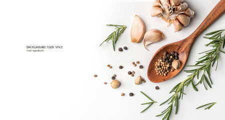 Cooking spices isolated on white background. Cook recipe 免版税图像