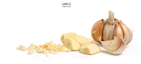 Garlic isolated on white background. Cooking spices