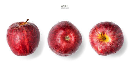 Red apples with dew and water droplets on a white background. healthy fruit