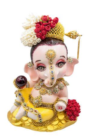 Hindu God Ganesha thai dress. Ganesha Idol on white background.isolate.