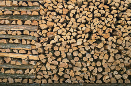 pile of logs: Pile of wood logs stacked Stock Photo