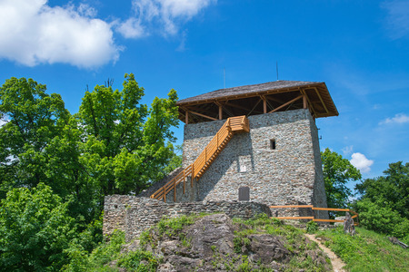 lookout: Lookout tower in forest surrounded by trees Editorial