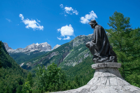 humanist: Monument to Dr. Julius Kugy in the Trenta Valley near the mountain pass Vrsic in Slovenia