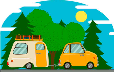 Vintage car with camping trailer. A trip by car to rest. Vettoriali
