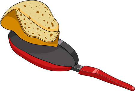 Cooking pancake in a skillet. Vector clip art.