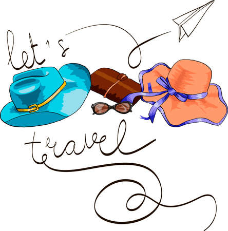 Composition with travel accessories. Vector illustration with lettering quote let's travel. 向量圖像