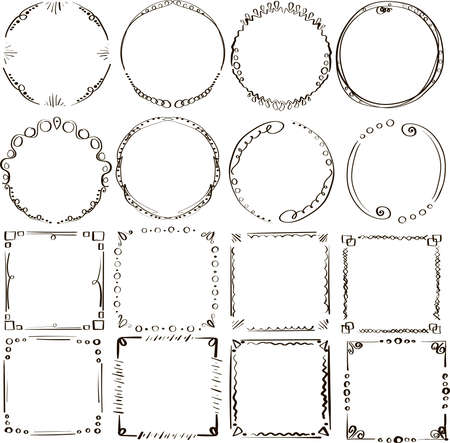 Collection of handdrawn frames in vector