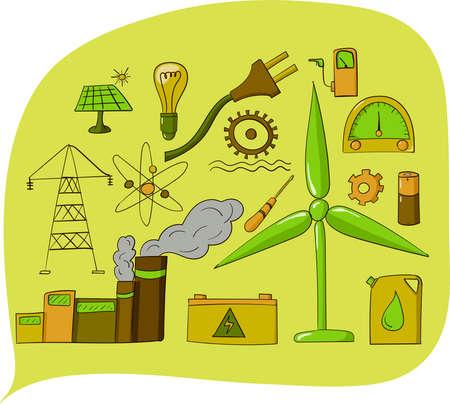 Doodles about energy. Hand drawn vector illustration. Ilustração