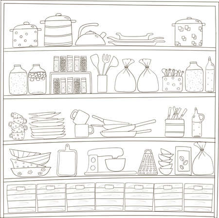 Kitchen shelves with kitchenware. Hand drawn doodle illustration.