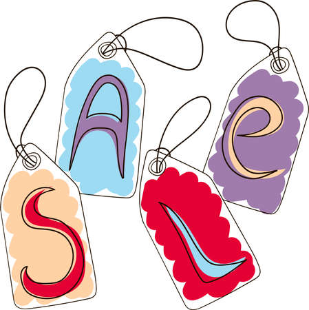 Set of tags with sale caption. Hand drawn doodle illustration. 向量圖像