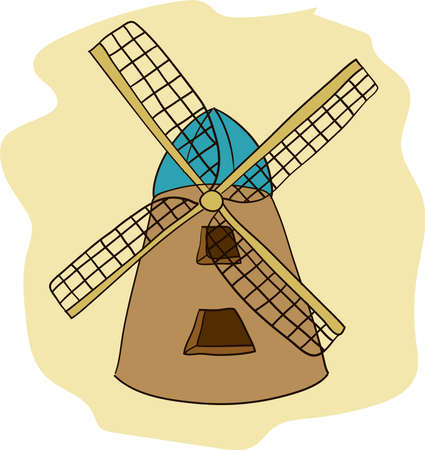 Windmill hand drawn vector illustration.
