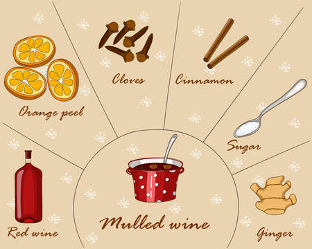 Vector illustration with hot drink mulled wine or gluhwein and ingredients for it.