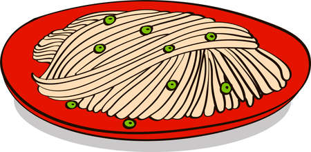 Spaghetti with green pea doodle vector illustration