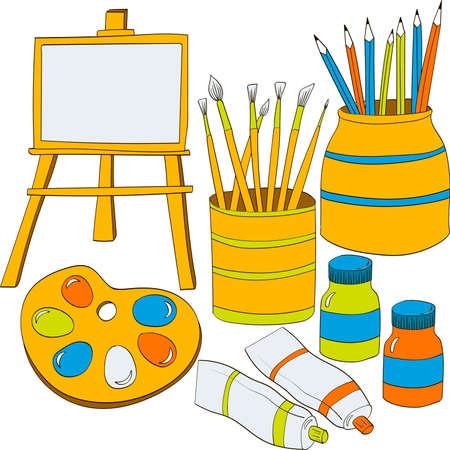 Set of drawing supplies. Vector doodle color illustration.