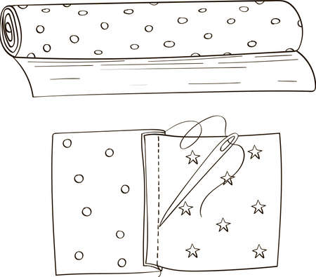 Textile material and stitched scraps of fabric with needle. Vector doodle black and white illustration.