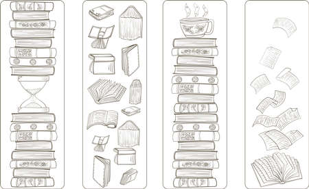 Set of four bookmarks with black and white doodle art with books.