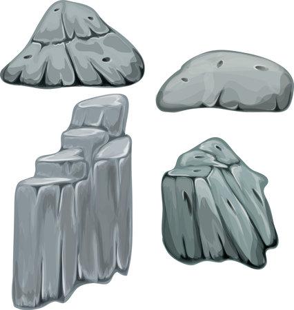 Set of stones. Cartoon vector illustration.