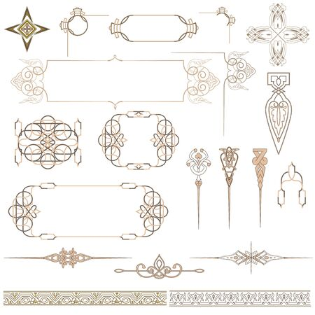 beige decorative patterns and ornaments for design. Illustration