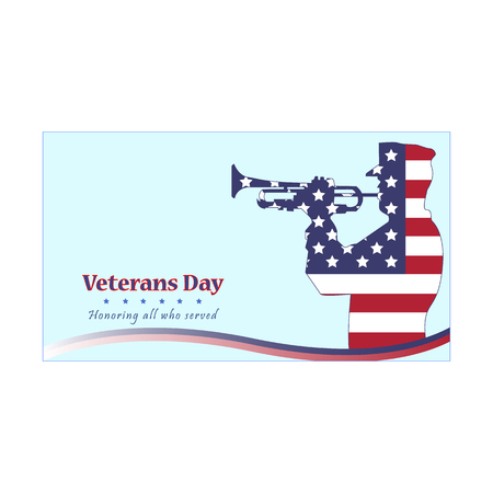 Vector illustration of a veterans day, flag, America, military trumpeter, USA, parade. Honoring all who served. American traditional patriotic celebration. Illustration
