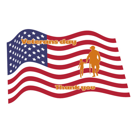 Vector illustration of thanks to veterans, flag, America. Honoring all who served. American traditional patriotic celebration.