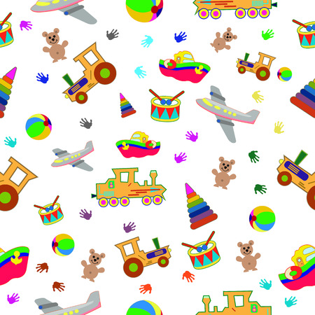Seamless wallpaper pattern for childrens toys. For wallpaper, wrapping paper and textiles.