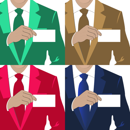 4 color options when a man holds a business card Illustration