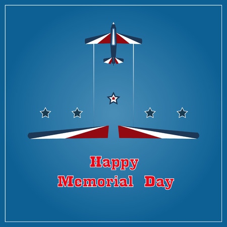 Happy Memorial Day with the inscription and flying aircraft