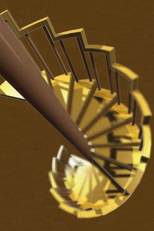 yellows: 3D vector and raster depth of field spiral staircase Stock Photo