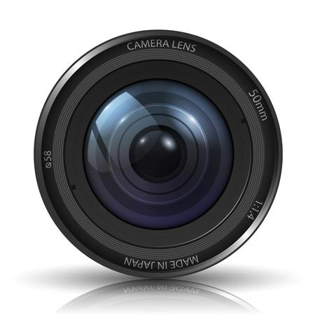 telephoto: Camera photo lens - isolated on white background  Photo-realistic vector
