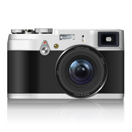 digital camera: Vintage camera  - isolated on white background  Photo-realistic vector