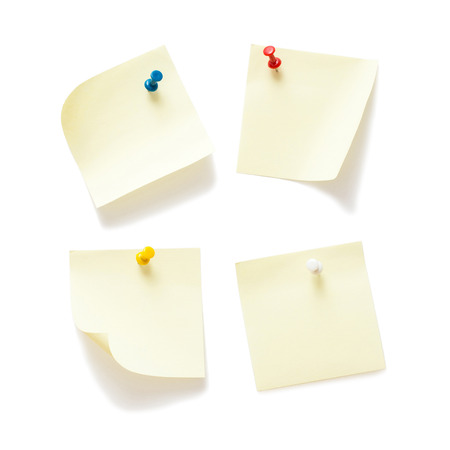 push in pins: Four sticky notes with push pins on white background