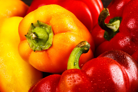 organic peppers: Variety of fresh organic peppers