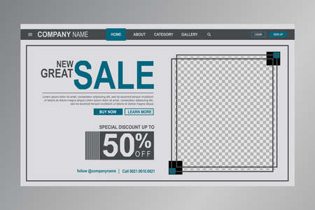 Web header template with a space fo photo Vettoriali