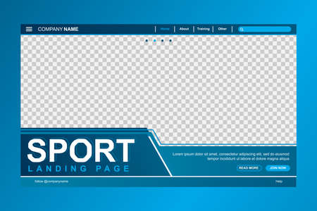 Header web page template with a space for photo