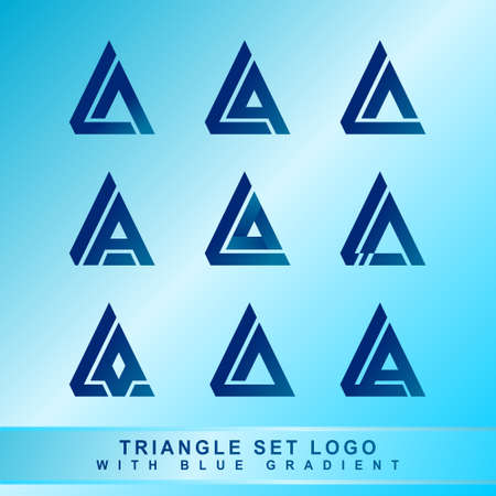 Triangle Set Log With Blue Gradient