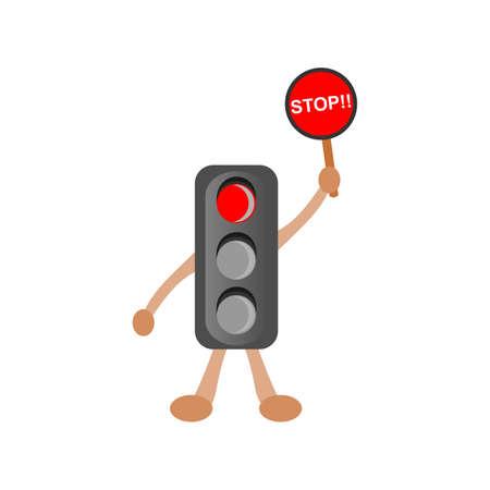 Traffic Light Charater Ilustration