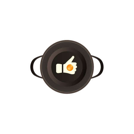 Cooking egg on the pan with like shape