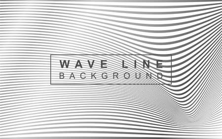 Wave line background vector with mono black