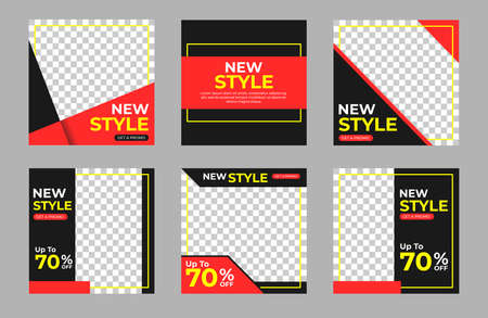 Set of square banner template. Black, red and yellow background color with line shape. Suitable for social media post,  web internet ads. Vector illustration with photo college