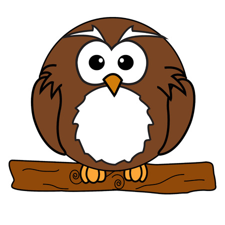 An depicting a cute owl sitting on a branch.