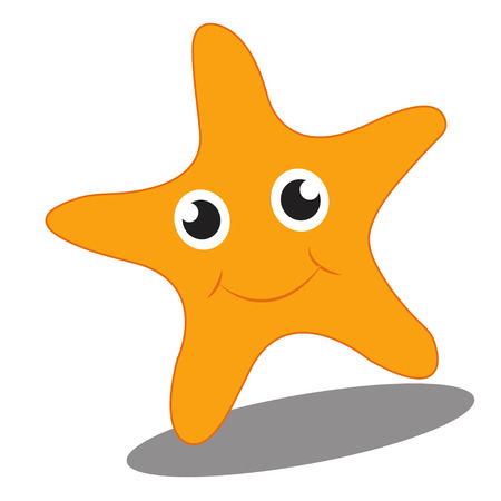 a smiling starfish on a white background 矢量图像