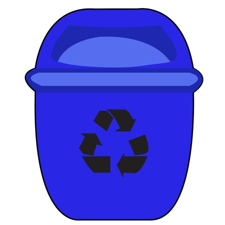 environmental awareness: blue Recycle Bin for Trash and Garbage Isolated on White Background