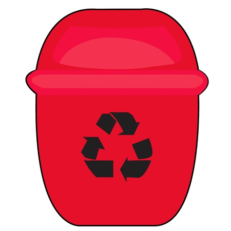 Red Recycle Bin for Trash and Garbage Isolated on White Background 矢量图像