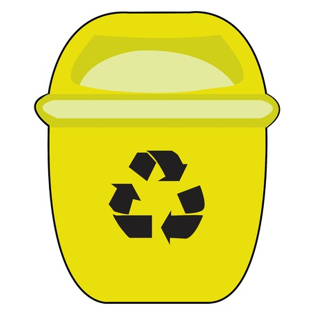 Yellow Recycle Bin for Trash and Garbage Isolated on White Background