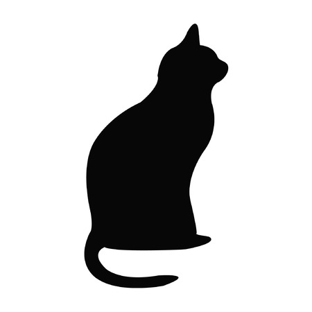 cat silhouette: Black silhouette of cat
