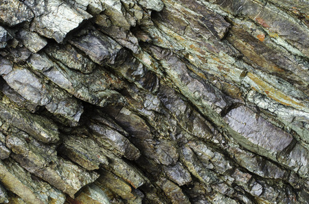 Layers of grey rock provide a unique texture Imagens