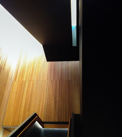 Repeated narrow boards create a contrast against dark angles plain material