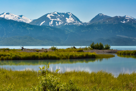 wildlife refuge: A large broad flat stream flows into an Alaskan lake with snow capped mountains in the background.